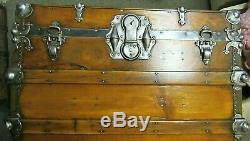 Antique Steamer Trunk Vintage Victorian Fancy Flat Top Chest Tray & Key C1890