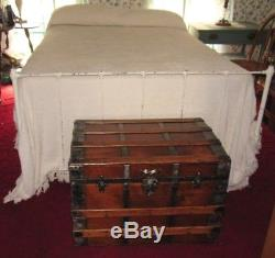 Antique Steamer Trunk Vintage Victorian Flat Top Rustic Wooden Chest Tray&key