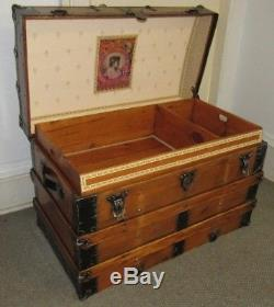 Antique Steamer Trunk Vintage Victorian Flat Top Rustic Wooden Travel Chest Wkey