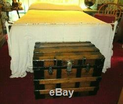 Antique Steamer Trunk Vintage Victorian Flat Top Wooden Chest Tray & Key C1890