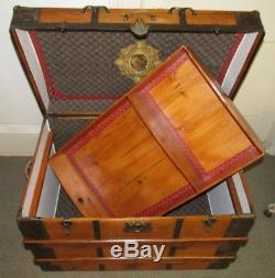 Antique Steamer Trunk Vintage Victorian Flat Top Wooden Travel Chest W Tray& Key