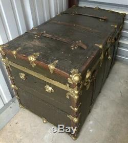 Antique Steamer Trunk Wood Leather Metal Chest Leather Green Gold Very Rare OOAK