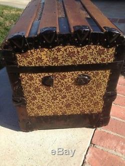 Antique Steamer trunk Dome Top Victorian Wood Chest Stagecoach