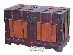 Antique Storage Trunk Wood Old Pirate Chest Vintage Retro Toy Blanket Box Lined