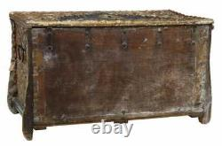 Antique Trunk, Chest, Heavily Carved Italian Polychrome Walnut, 18th / 19th C