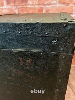 Antique Trunk Coffee Table Blanket Chest Vintage Storage Toy Box metal edging
