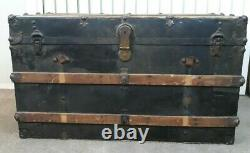 Antique Trunk Flat Top Metal Wood Slats Coffee Table Blanket Chest No Tray Large