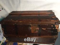 Antique Victorian 1891 Lithographed Wooden Domed Doll Trunk withTray