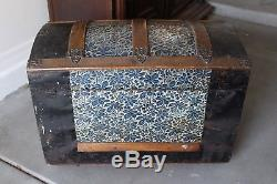 Antique Victorian Camelback Dome Top Trunk Embossed Metal with Lift Out Tray