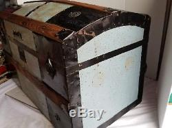 Antique Victorian Domed Top Steamer Trunk Light Blue Tin Stagecoach Hope Child