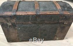 Antique Victorian Hump Back Punched Metal Steam Trunk Young Ladys