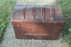 Antique Victorian Humpback Steamer Chest Trunk Brown Flower Leave Scrolls Large