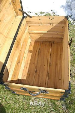 Antique Victorian Steamer Trunk Wood Oak Slats Chest Coffee Table Tray Furniture
