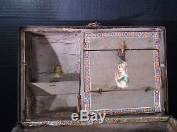 Antique Victorian Toy Doll Child Trunk Domed Top / Metal & Wood Detail 14910