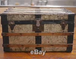 Antique Victorian Vintage Metal Tin Wood Small Coffee Table Steamer Trunk