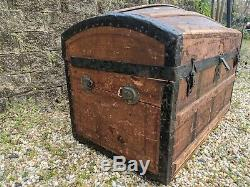 Antique Victorian wood dome top trunk steamer chest original iron bindings/latch