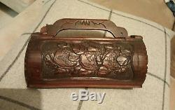 Antique Vintag Chinese Cantonese Oriental Hand Carved Bamboo Wood Box Case Trunk