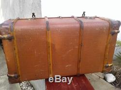 Antique Vintage Canvas Wood Steamer Trunk / Chest Storage Box Coffee Table