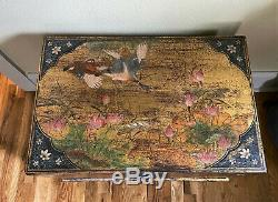 Antique Vintage Chinese Gold Lacquer Blanket Wedding Trunk Chest Box w Stand
