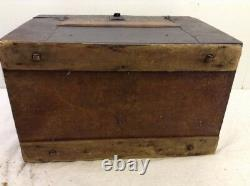 Antique Vintage Rolling Dome Top Wood Metal Covered Storage Trunk Chest