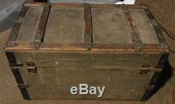 Antique / Vintage Trunk Doll Chest Wood Paper