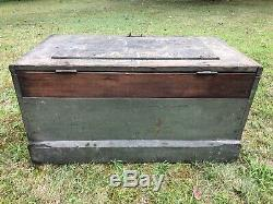Antique Vintage Wood Chest Trunk OLD Green Paint 38x21x19.25 Tool/Tack Box