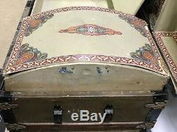 Antique Vtg Dome Trunk Chest Steamer Classic Victorian with Complete Tray & Key