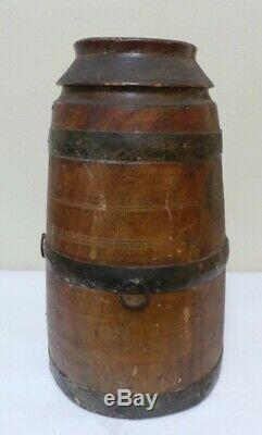 Antique WOOD Barrel Carved out of Tree Trunk Rustic Primitive Western Cowboy USA
