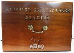 Antique Walnut Wood Solicitor's Box Trunk Gold Lettering with Lock & Key