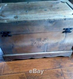 Antique Wood Carved Blanket Chest Trunk, Coffee Table, Vintage