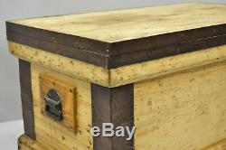 Antique Wood & Cast Iron Primitive Industrial Trunk Blanket Chest Coffee Table