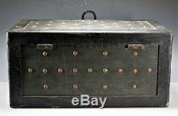 Antique Wood & Iron Double Handle Western Cowboy Stagecoach Safe Trunk Furniture