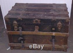 Antique Wood Railroad Trunk Chest Rare Vintage Pice of Americana