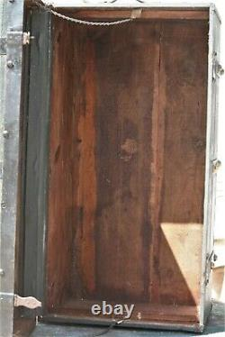 Antique Wooden Trunk 1890-1910c. Oak Slats, Round Brass Buttons with Key