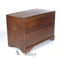 Antique blanket chest trunk large dovetailed flat top box wood 19th c