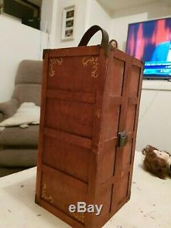 Antique doll with doll trunk wardrobe lovely doll eyes wooden draw box