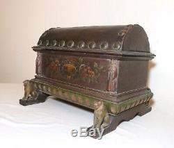 Antique handmade wood leather toleware painted cigar humidor Folk Art box trunk