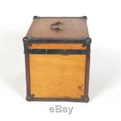 Antique hat trunk box wood iron leather small half chest