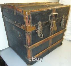 Antique original patina leather, canas, wood Stagecoach Steamer 1/2 Trunk 20x16