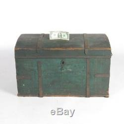 Antique pine trunk painted wood dome top chest box primitive green c 1878