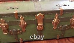 Antique steamer trunk ornate chest brass mounts Eagle lock green wood leather