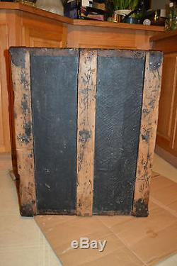 Antique wood Brass iron Dome Top Horse Carriage STEAMER TRUNK BLANKET CHEST