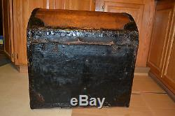 Antique wood Brass iron Dome Top Humpback STEAMER STORAGE TRUNK CHEST