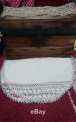 Antique wood Dome Trunk With Pull out Tray & Bisque Antique Doll