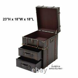 Antiqued Brown Storage Trunk Set of Drawers Chest Bedroom Side Table Nightstand