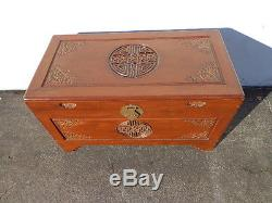 Asian Inspired Chinoiserie Trunk Coffee Table Hope Chest Blanket Bed Bench Wood