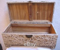 BEAUTIFUL Antique Hand Carved Footed Chinese Box or Trunk