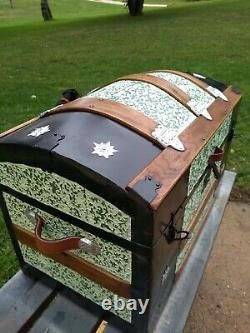 BlackDog Antique Steamer StageCoach Trunk Chest Green Floral Dome c 1880's