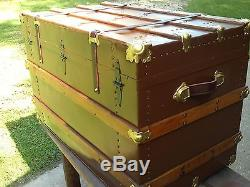 BlackDog Antique Steamer Trunk Flat Top Victorian Wood Chest Stagecoach C1800