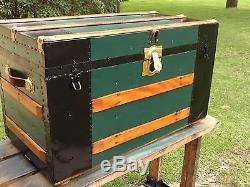 BlackDog Antique Steamer Trunk Flat Victorian Wood Chest Stagecoach Table Glass